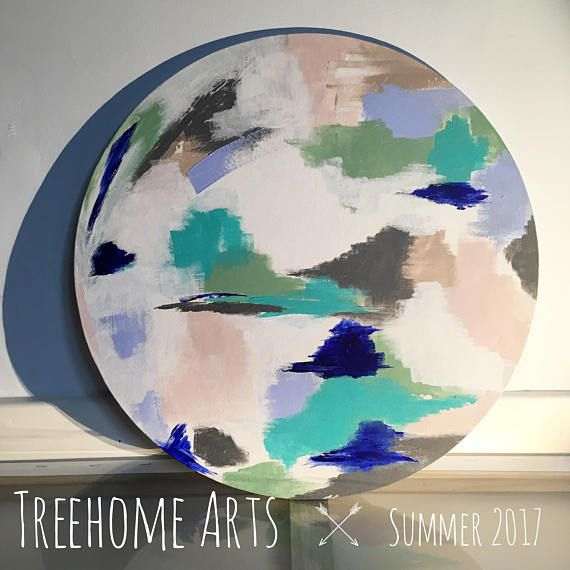 NEW for Summer 2017 Original Abstract on Circular Canvas
