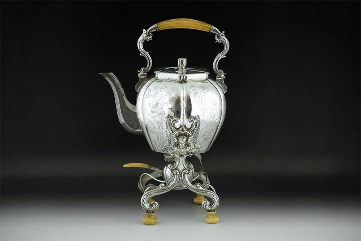 Antique kettle on stand with spirit burner, Vienna