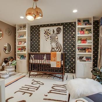 Brown and Orange Boy Nursery with Hermes Avalon Blanket