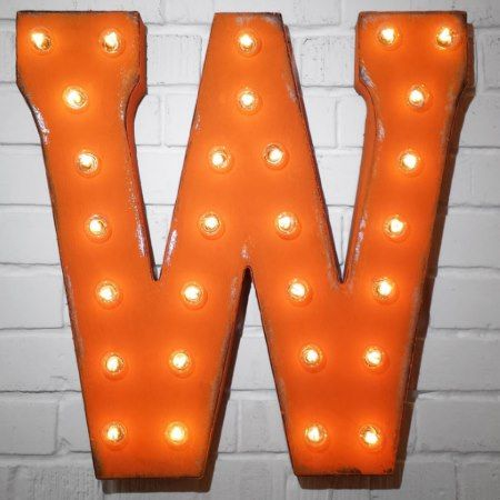 Custom 21' Orange Letter 'W' Vintage Marquee Signs - click to get yours right now!