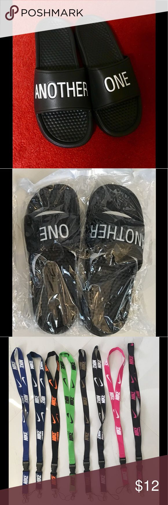 """Another One Slides + FREE Nike Lanyard!!! """"Another One"""" slides based on DJ Khalid's popular songs! Comfortable & trendy! Can be used for indoors & outdoors. For both men & women. I have the following sizes available: 7, 8, 9, 10, 11, and 12.   Plus I will throw in a FREE Nike lanyard with each pair. Message me if you want a specific color. Or else I will send you a random color! Shoes Slippers"""