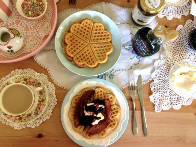Holiday Waffles With Blueberry Jam