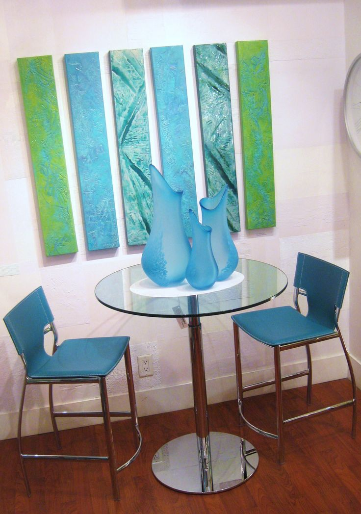 Canadian Art Work; Canadian Art Glass; Modern Dining Solution for a small space. Available @ Ma Zone Home Decor.