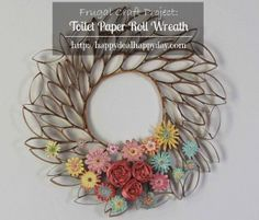 Toilet Paper Roll Craft – Toilet Paper Roll Wreath – Frugal Craft Projects #wreaths #recycle #upcycle