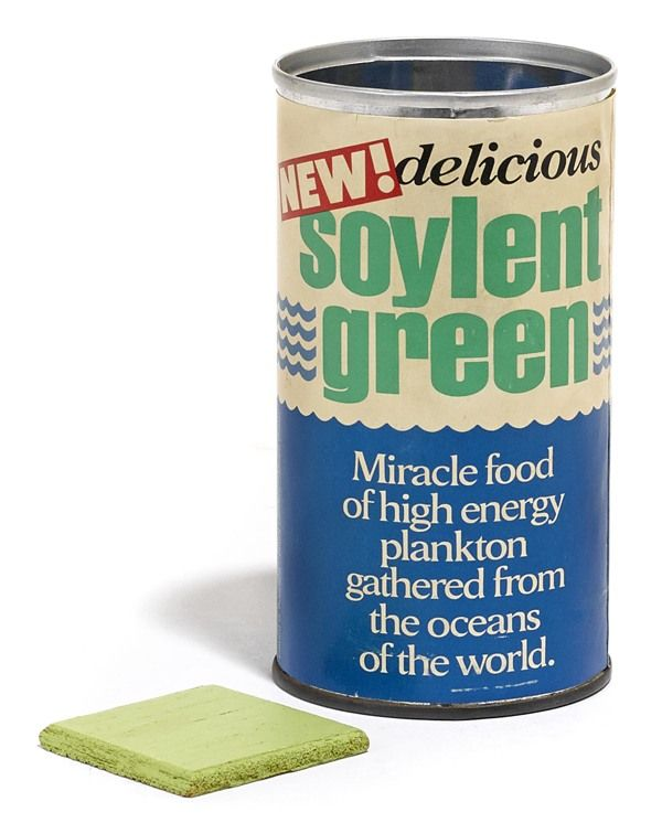 Soylent Green can and cracker that sold at aution in November 2013 for $2250. The cracker is a small piece of balsa wood painted lime green.