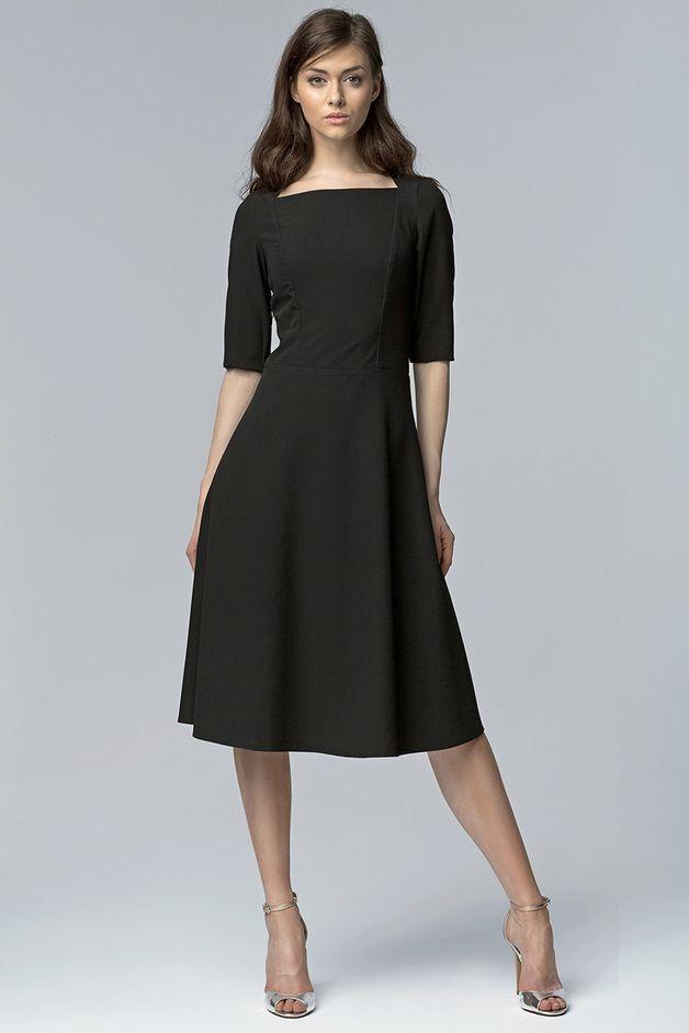 Klasyczna sukienka MIDI s63 - czarny - nife_pl - Sukienki