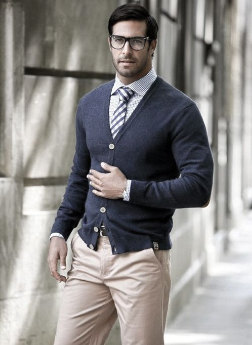 04089c7b12 Navy Sweater With Cream Dress Pants Business Casual Outfits Styles For  Gentlemen