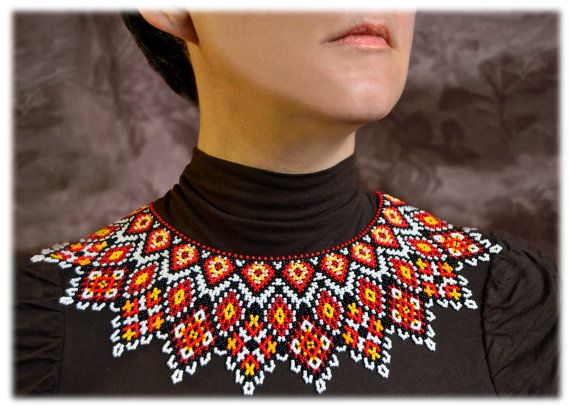 Modern Beaded Necklace Jewelry Ukrainian by NakaHandMadeShop