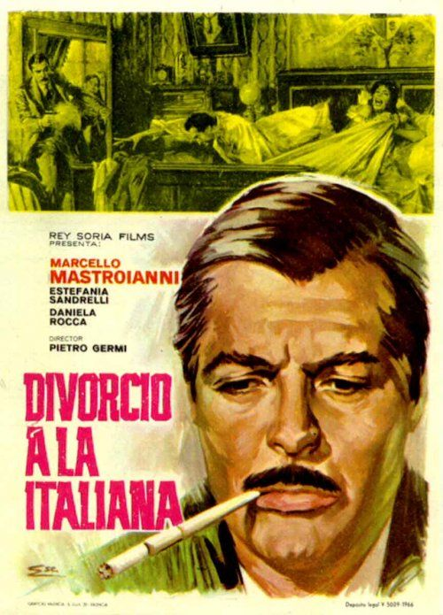 Poster for Divorce Italian Style (1961).   Starring: Marcello Mastroianni