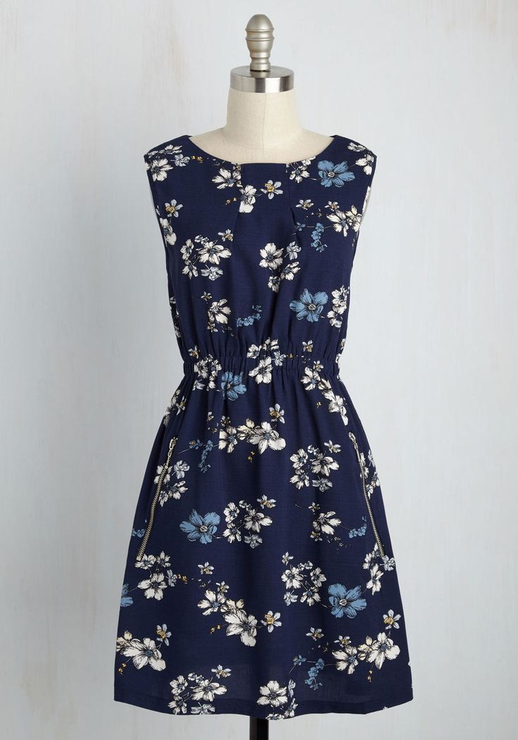 I Want Shandy Dress. When the craving for a summery libation strikes, throw on this navy sundress thats equally as refreshing! #blue #modcloth