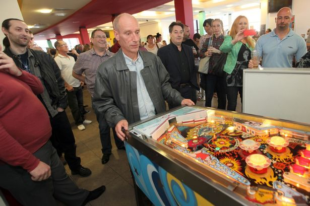 John Spicer, from Whitley Bay, takes part in the pinball competition at Whitley Bay Playhouse