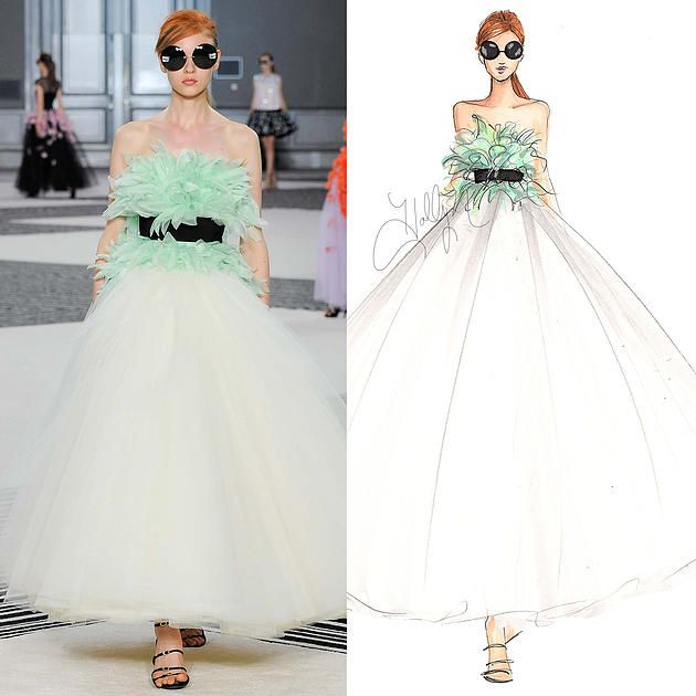 Giambattista Valli - A/W 2015-16 Couture - Model Katya Ledneva - Holly Nichols Sketch