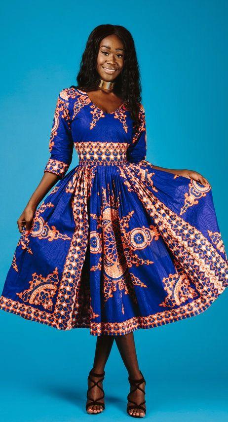 The Midi Victoria Dress V Neck African Print Midi Dress