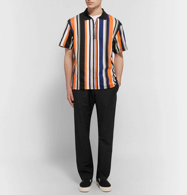 <b>Designed exclusively for MR PORTER.</b> Californian brand <a href='http://www.mrporter.com/mens/Designers/noon_goons'>Noon Goons</a> brings a refreshing sense of authenticity to its streetwear-inspired designs. This cotton-jersey polo shirt is boldly striped and detailed with both a half-zip placket and an asymmetric collar for a cool point of difference. Wear yours with loose trousers and a pair of skate shoes.
