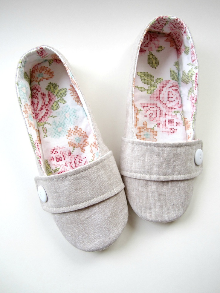 Flax Linen with Rose Cross-Stitch Print Cotton House Slippers $40.00, via Etsy.