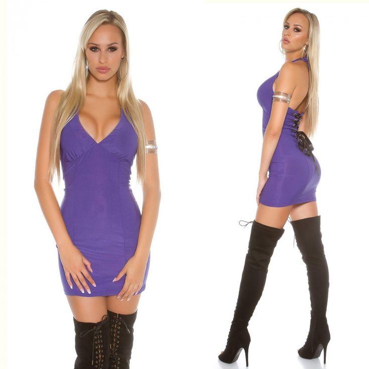 Lila fűzős ruha