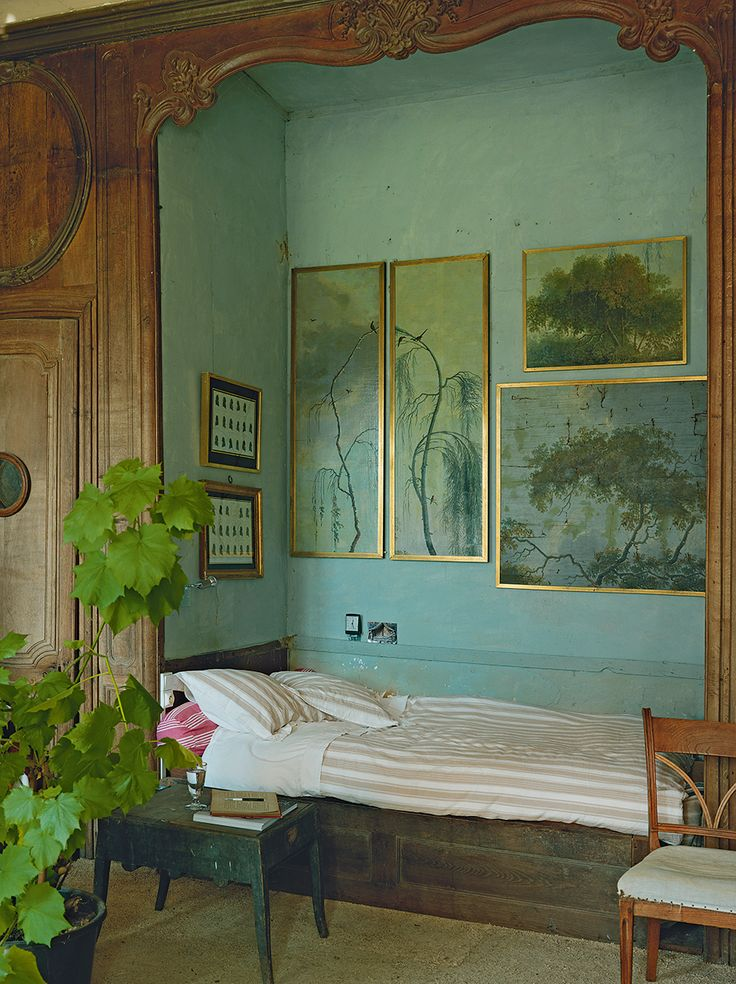 The walls of Peter's winter bedroom, which sits between the living room and the library, were stripped back and painted a soft green reminiscent of a typical 18th-century palette. (great images in the link)
