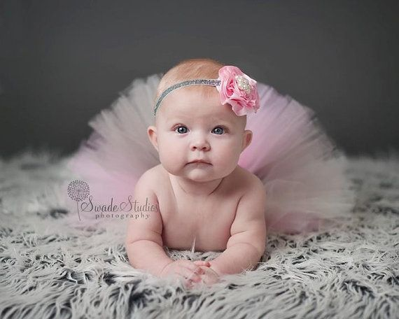 6-24m size, Baby tutu, Pink tutu, birthday tutu, Selena Cream Pink flower gray glitter headband & tutu set photography prop