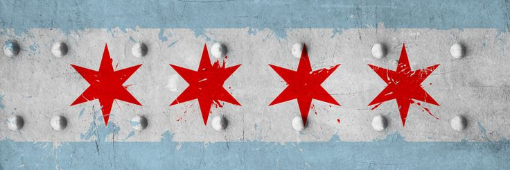Chicago City Flag (Riveted Metal) Panoramic by iCanvas - canvas print