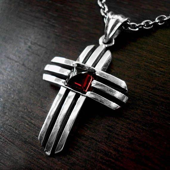 Silver cross necklaceMens silver crossVintage crossGarnet
