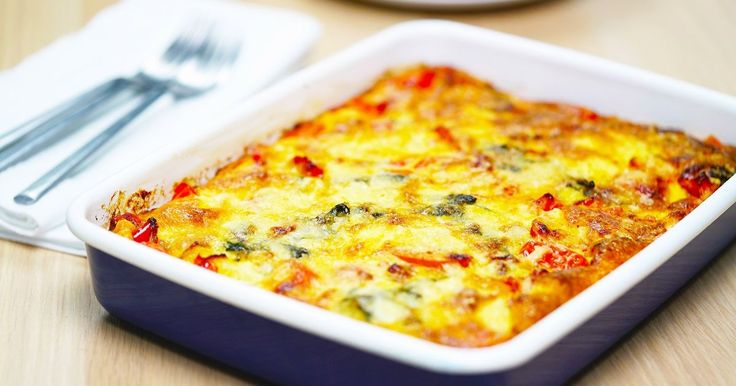 Delicious hot or cold, quick and easy frittata.  Add lots of different vegetables, herbs or leftovers. GREAT