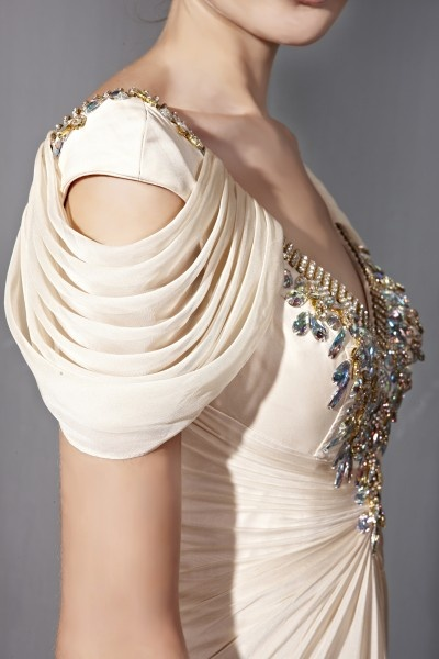 Beige Embellished V Neck Wedding Dress (81080) - In Stock UK6, UK10, UK12