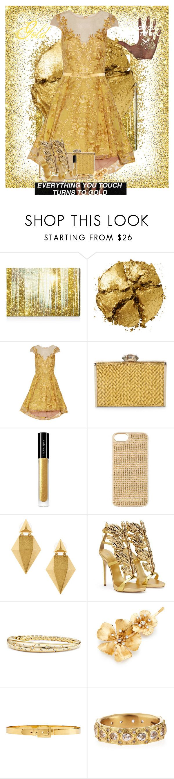 """Everything You Touch Turns To Gold"" by allyssister ❤ liked on Polyvore featuring Oliver Gal Artist Co., Pat McGrath, Notte by Marchesa, Judith Leiber, Illamasqua, MICHAEL Michael Kors, Stephanie Kantis, Giuseppe Zanotti, David Yurman and Jennifer Behr"