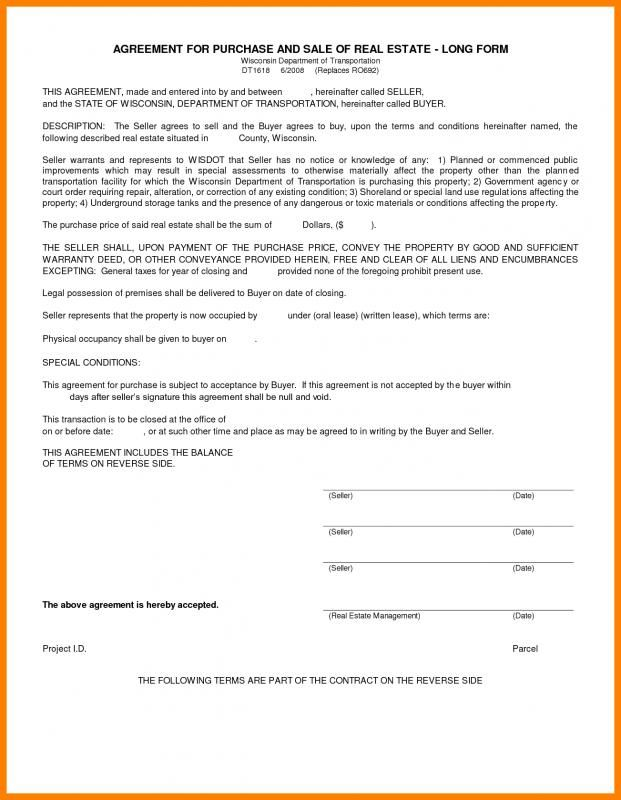 Simple Home Purchase Agreement Purchase Agreement Land For Sale Templates