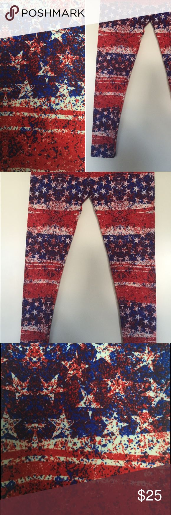 LuLaRoe American Flag Leggings :: TC :: BNWT BNWT LuLaRoe buttery soft leggings from 2016 Americana capsule collection. American flag pattern. TC with tags. LuLaRoe Pants Leggings