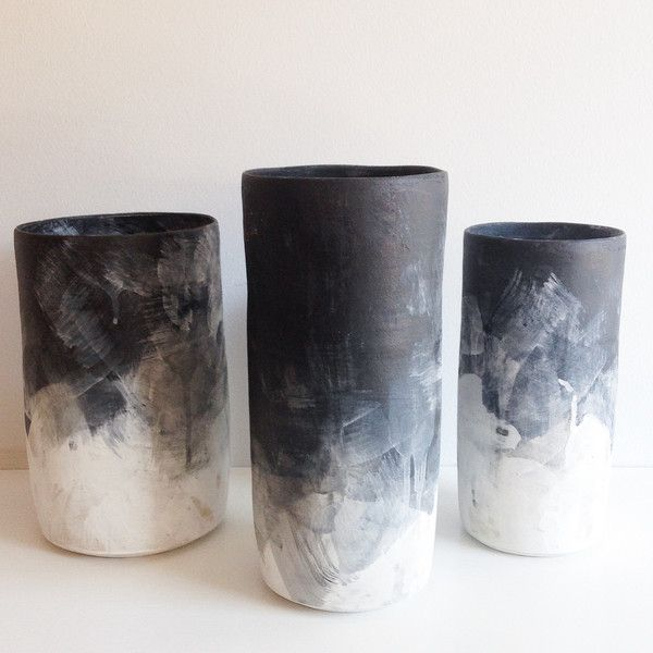 Hand-thrown Stoneware Black & White Brushed Ombre Vases. Black & White Ombre Glaze Surface. Cylinder Vase. Sheldon Ceramics. Cone 10 Ceramics. Los Angeles. Clay