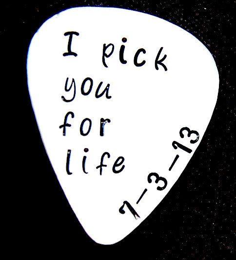 Groom Gift, I Do Wedding, Custom Guitar Pick, Customized Pick, Hand Stamped Guitar Pick, I pick you for life via Etsy