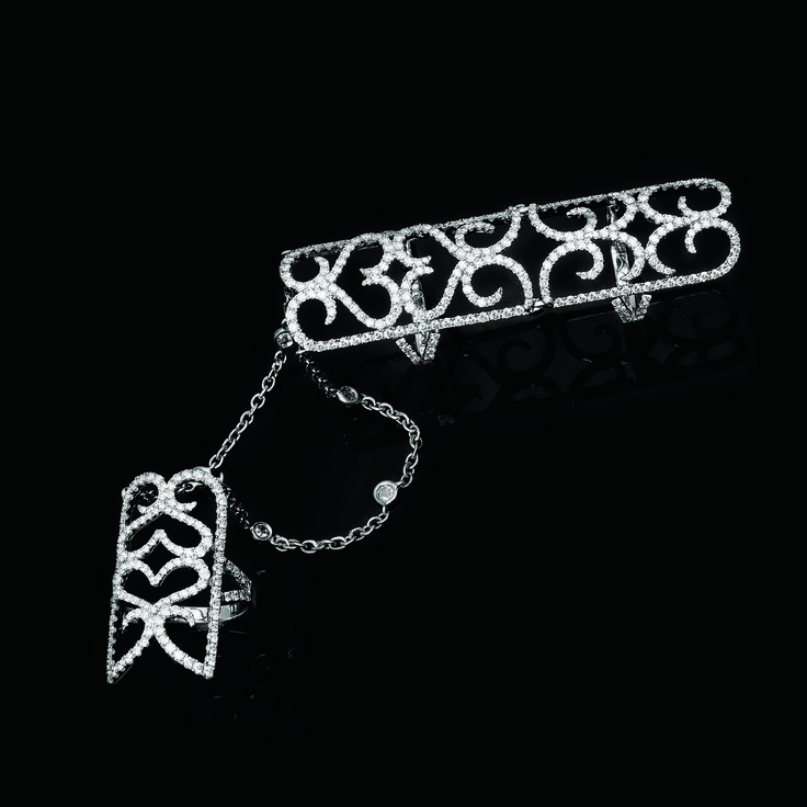 Twofinger ring studded with diamonds by Gehna