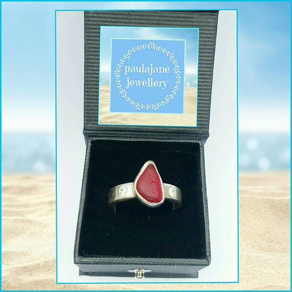 Bespoke Rare Red Seaham Seaglass Ring 2 Lab Diamonds