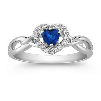 front blue with heart by side product cubic rings zirconia band ring sapphire promise