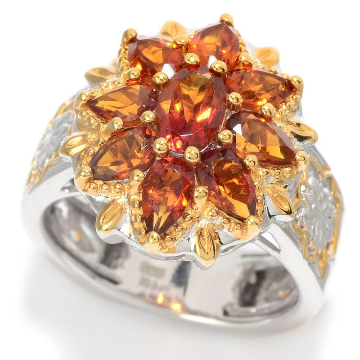 157-678 - Gems en Vogue 2.00ctw Oval & Pear Shaped Madeira Citrine Flower Ring
