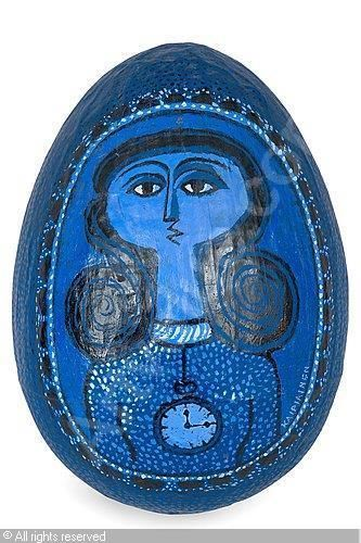 BIRGER KAIPIAINEN, Finland. Papier maché sculpture of a lady and a clock in blue.