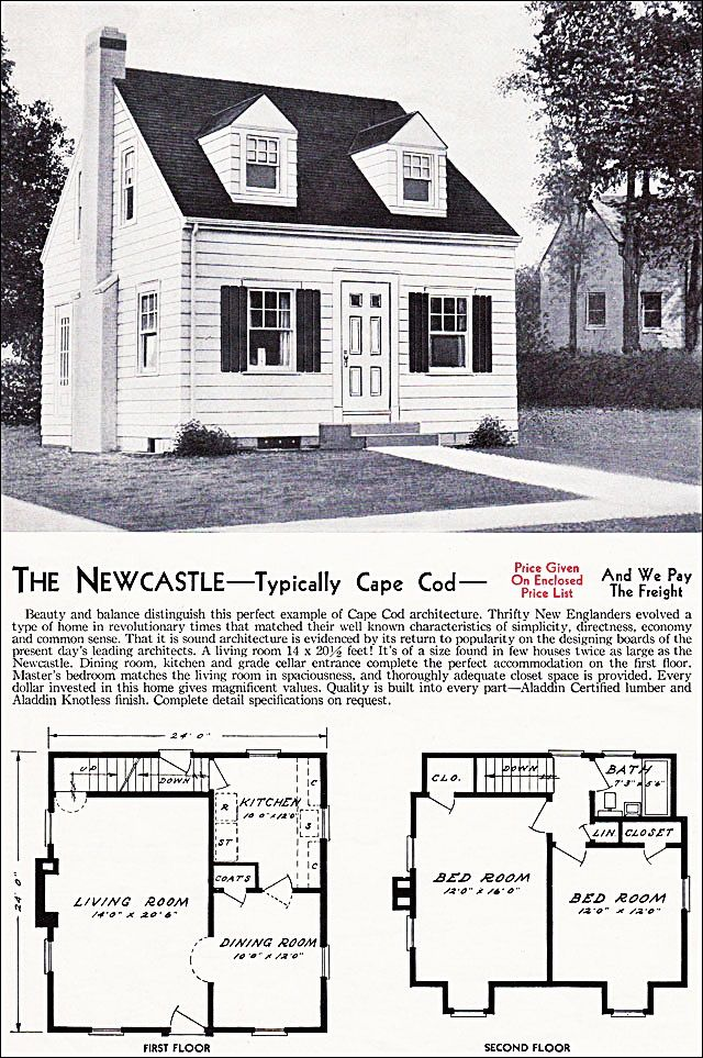 The New Castle Kit House Floor Plan made by the Aladdin Company in Bay City Michigan in 1940 Vintage Cape Cod