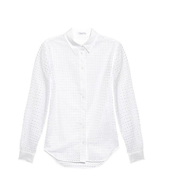 Equipment Brett broderie-anglaise shirt (380 BGN) ❤ liked on Polyvore  featuring tops