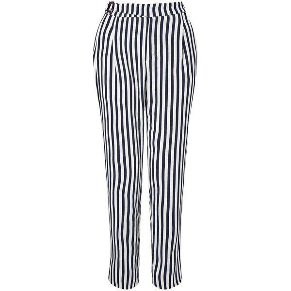 BOSS Orange Salanja Stripe Trousers, Navy/White (255 NZD) ❤ liked on Polyvore featuring pants, navy blue trousers, white trousers, navy pants, straight pants and navy blue pants