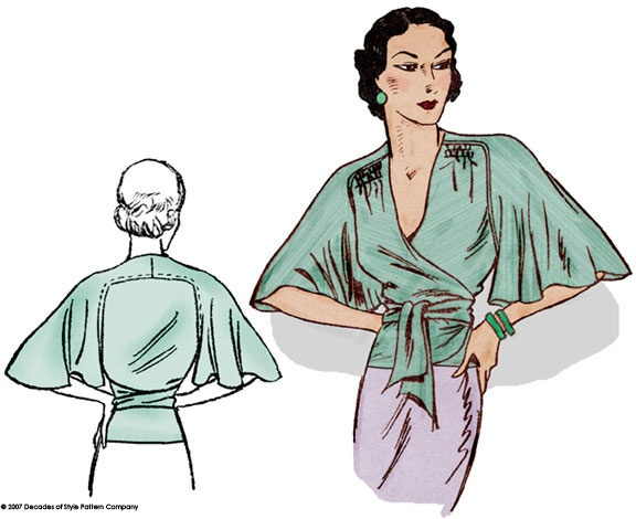 #3005 1930s Butterfly Blouse
