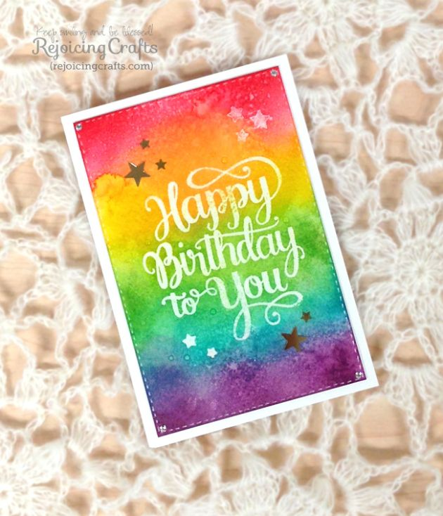 RejoicingCrafts: Rainbow watercolour background card with MAKE A WISH Stamp by #MamaElephant