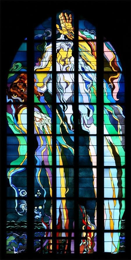 This vibrant #stainedglass is one of many found in the apse of the Church of St. Francis in Krakow, Poland. The unique style of the #windows was the work of Stanisław Wyspiański, a Polish artist and founder of the modernist art period known as Young Poland during the late 19th and early 20th centuries.