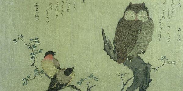 Kitagawa Utamaro hibou-sur-un-tronc-d-arbre-et-deux