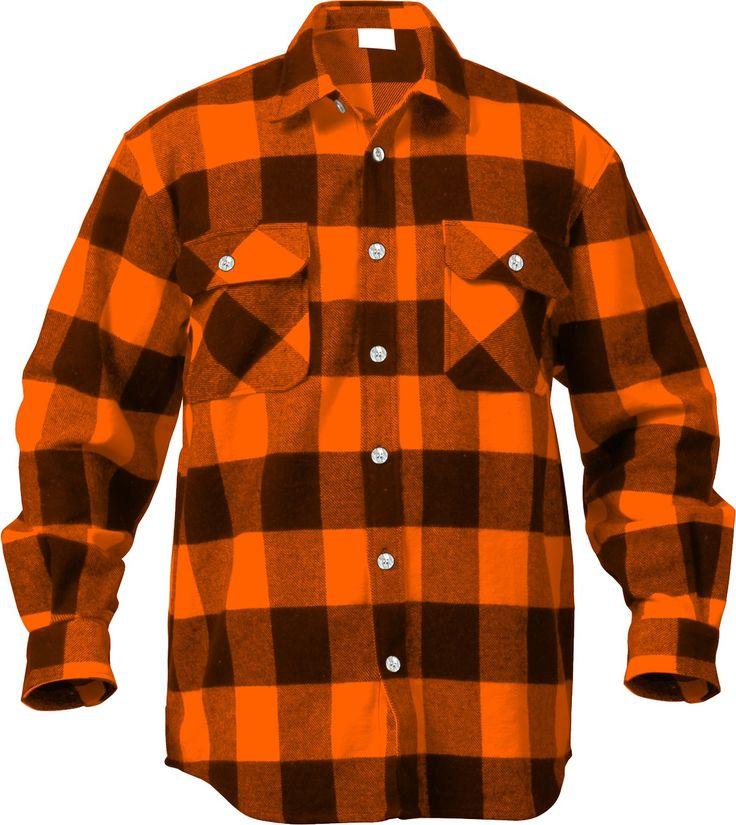 Orange Extra Heavyweight Brawny Buffalo Plaid Flannel Shirt | 4672 | $36.99