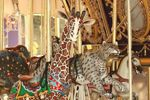 Giraffe on the carousel at the Happy Hollow Park and Zoo, San Jose, CA
