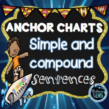 Summer Simple and Compound Sentences Anchor Charts are a great visual to display on your bulletin board, so students can refer to it whilst writing. It includes a definition and an example. Simply print and laminate the charts. If you want a bigger chart, you need to change paper size when printing.