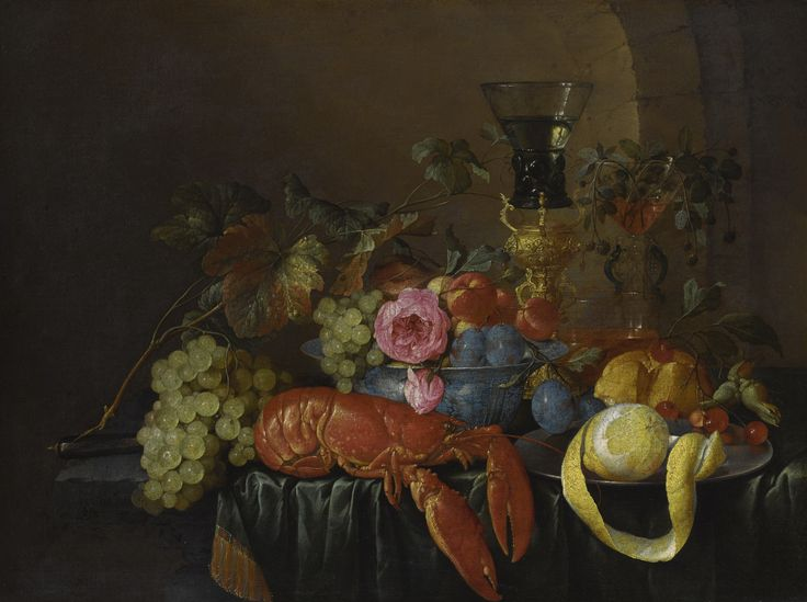 c~1660 Still life with lobster, lemon and fruit by Cornelis de Heem
