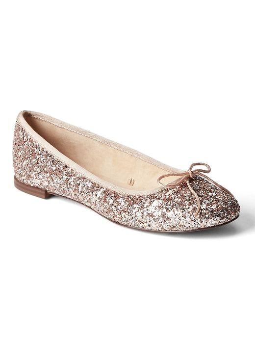 3139f9d9141 Gap Womens Glitter Ballet Flats Rose Gold