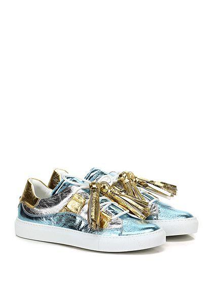L'AUTRE CHOSE - Sneakers - Donna - Sneaker in pelle laminata vintage con suola in gomma. Tacco 30. - CELESTE\GIALLO\SILVER - € 270.00