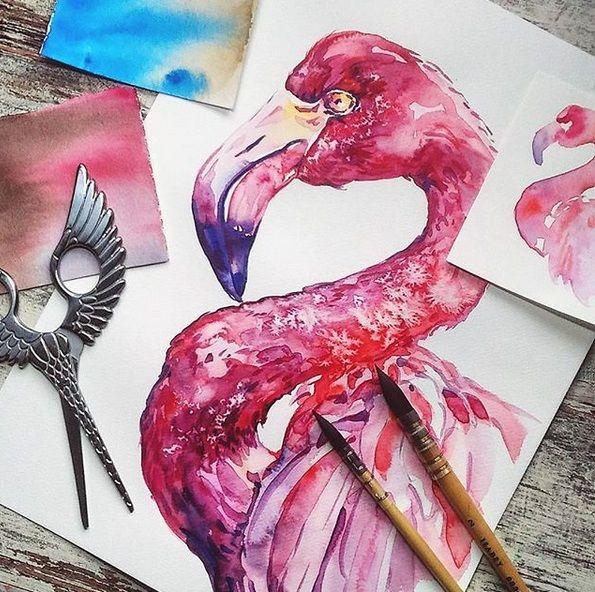 Flamingo Aquarell Bilder Zum Nachmalen Acrylbilder Selber Malen Coole Bilder Zum Zeichnen